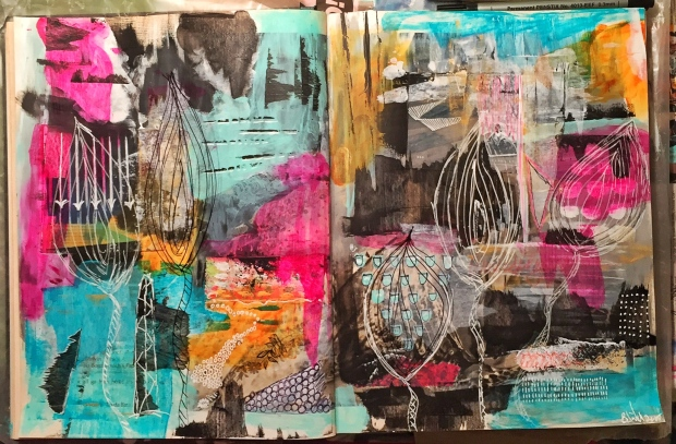 Art Journaling allows you to look at the bigger picture you wish to transfer to canvas.  It frees you play with color and shapes and to let go.